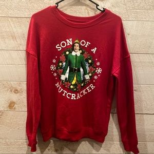ELF Son of a Nutcracker Unisex Red Christmas Sweater Size M S NEW